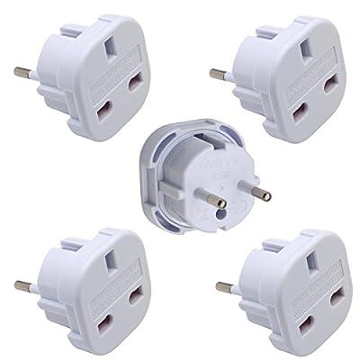 INIBUD UK to EU Europe European Travel Adapter White Plug 2 Pin