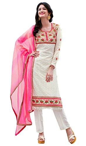 Justkartit Women's Semi-Stitched White & Pink Colour Georgette Salwar Kameez For Party...
