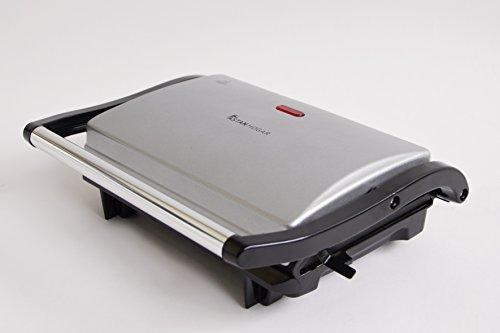Antihaftbeschichtete Grillpfanne elektrisch multgrill Inox. Leistung 700W. Zwei Platten mit Beschichtung. Funktion Grill, Tischgrill, Grill und Sandwichmaker. Oberfläche der Platte: 23x 14,5cm/U