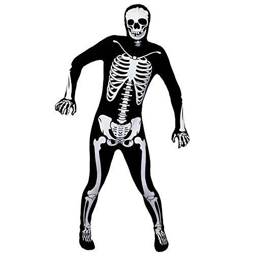 Erwachsene Skelett Halloween Kostüm Skin Suit Einteiler mit Knochen Aufdruck Erwachsene körperanzug Body Outfit - erhältlich in 5 Größen: Klein, mittel, groß, XL, XXL - LARGE