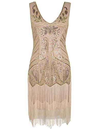 Flapper Champagner Kostüm - PrettyGuide Damen Flapper Kleid Blumen Stickerei Pailletten Quaste Cocktail 1920 Kleid Champagner L