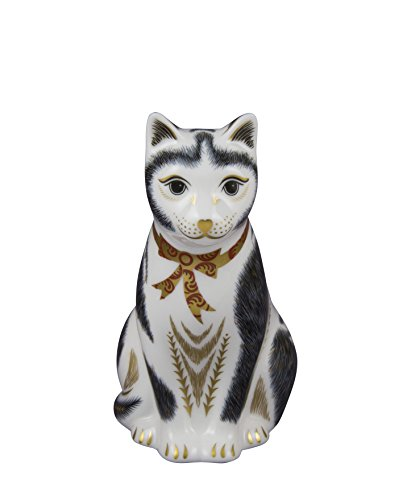 royal-crown-derby-y-negro-gato-blanco-pisapapeles-de-cristal-acero-inoxidable-multicolor