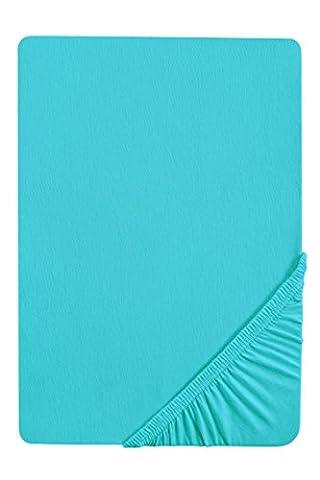 Biberna 2744/261/087 Drap housse en flanelle de coton pour un lit Turquoise 180 x 200 cm à 200 x 200 cm