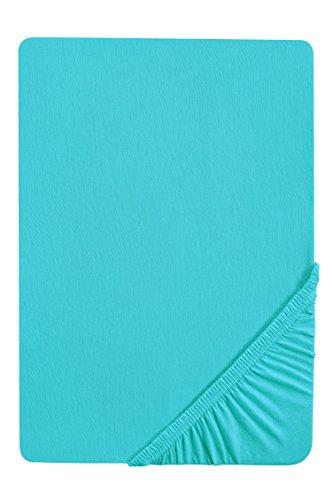 biberna 77144 Jersey-Stretch Spannbetttuch, nach Öko-Tex Standard 100, ca. 90 x 190 cm bis 100 x 200 cm, türkis -