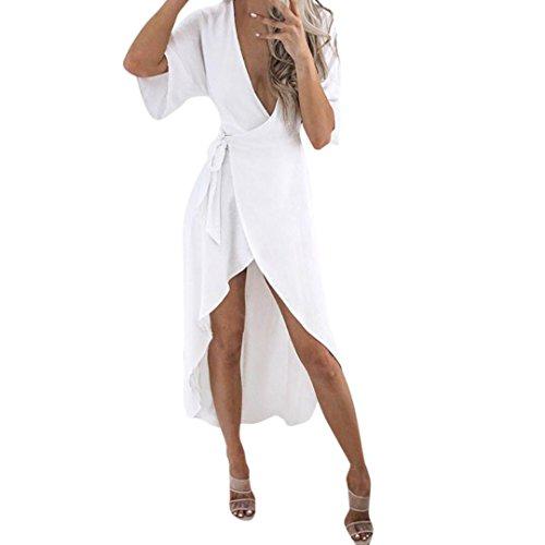Frauenkleid Kurzarm Strand Maxi Frauen Kleid Split Lang V-Ausschnitt Beachwear Abendkleid Elegant Strandkleid (S, Weiß)
