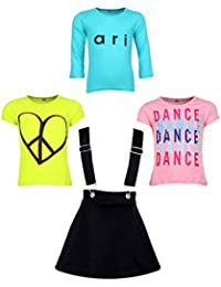 Gkidz Girls Pack of 3 Printed Cotton T-shirts with 1 Pack Stretchable Dungree Skirt (JG-GRAPHICCMB8_N_003DNGRE-BLK_Multicolor )