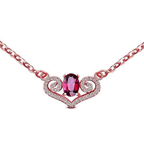 Halskette Natural Purple Granat Anhänger Halskette Sterling Silber Birthstone Mädchen Geschenk Cute Angel Heart Wing Female Ornament (Wing Angel Ornament)