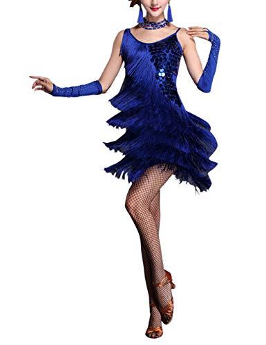 besbomig Erwachsene Sexy Abendkleider Quaste Pailletten Salsa Tango Latein Kleid - Damen Ballroom Partykleider - Sexy Tanz