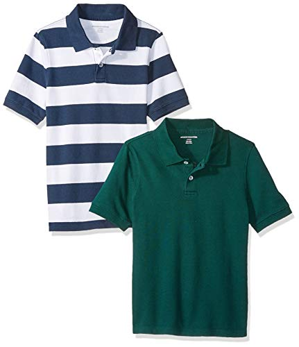 Amazon Essentials Jungen-Kurzarm-Poloshirt Piqué, Mehrfarbig (Green-White/Navy Rugby), US XL (EU 146 -152 CM)