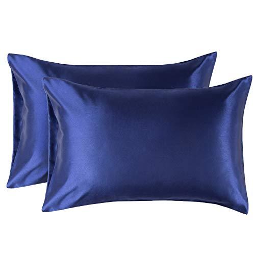 Bedsure Satin Kissenbezüge 50 x 75 cm Blau Navy - 1 Stück Kopfkissenbezüge aus hochwertige Mikrofaser für Haar- und Hautpflege -