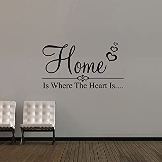 Wall Art Desire Home is Where The Heart is Vinyl Wall Art Sticker Decal 24 Colours to Choose