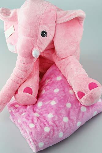 Kamaca Kuscheldecke Multifunktionsdecke Einschlafdecke mit Stofftier Decke 80 cm x 100 cm - Tolles Geschenk (Kuschel-Elefant Rosa mit Decke) (Rosa Elefant-decke)