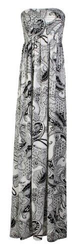 Fast Fashion Robe bandeau longue pour femme avec impression Fleurs Légère - Floral Schwarz