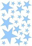 Samunshi Sterne Aufkleber Set gefüllt 14x2,5cm6x5cm2x7,5cm1x10cm hellblau