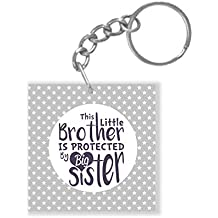 Yaya Cafe Birthday Gifts for Brother, Little Brother Protected by Big Sister Keychain Keyring