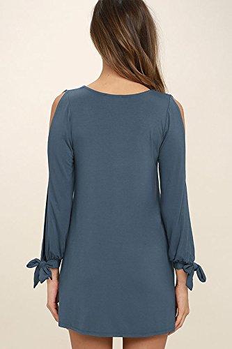 Mesdames Robes Femme Vintage D'Été Manches Longues Chics Robes Chemise Robes Casual Bleu