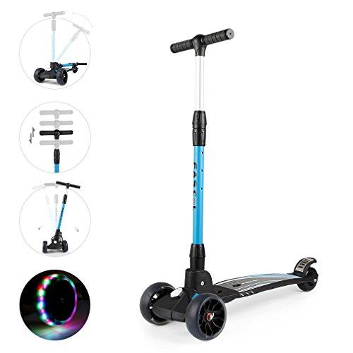 Fascol Scooter Roller Kinder Geeignet für 7 bis 15 Jahre alt Faltbare Erwachsene Kickboard Maximales Gewicht 75 kg, Blau