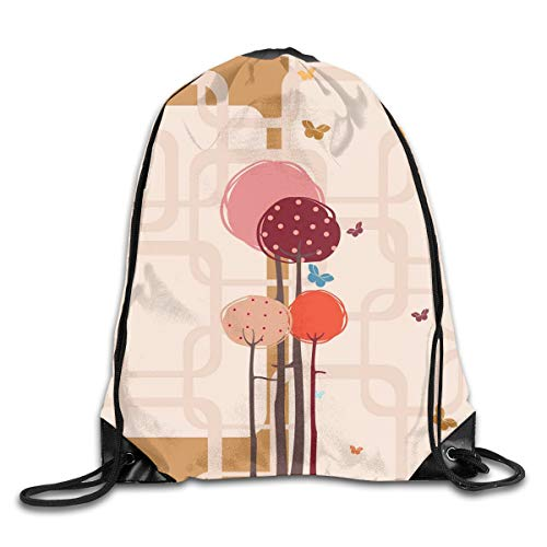 EELKKO Drawstring Backpack Gym Bags Storage Backpack, Colorful Trees and Butterflies Round Edged Squares Funky Spring,Deluxe Bundle Backpack Outdoor Sports Portable Daypack