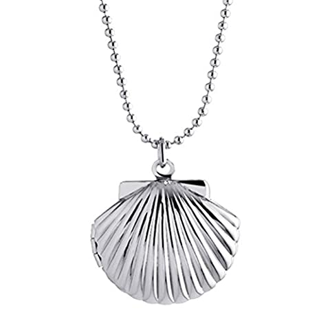 Sojewe Children Locket Seashell Necklace for Women Photo Girls Picture Charm Silver-tone