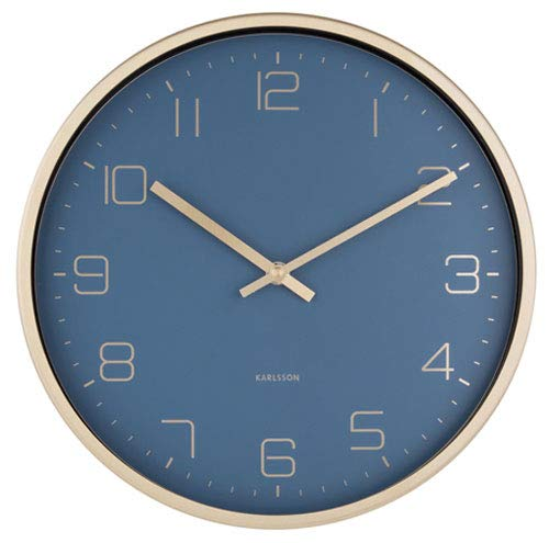 Present Time - Wall Clock Gold Elegance - Blue -Metall/lackiert - Ø 30cm, H. 4cm - Excl. 1 AA Batterie