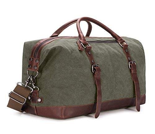 BAOSHA Vintage Segeltuch Canvas PU Leder Unisex Handgepäck Reisetasche Sporttasche Weekender Tasche für Kurze Reise am Wochenend Urlaub Arbeitstasche 40 Liter Aktualisiert (Grün) -