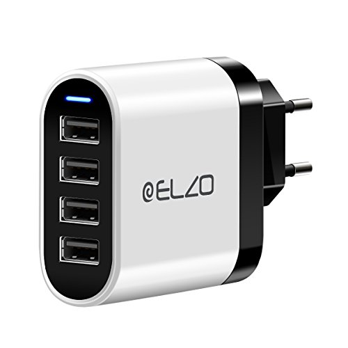 ELZO USB Ladegerät 4 Port USB Charger Ladeadapter EU Stecker 32W 6.4V mit iSmart2.0 Technologie für Samsung Galaxy, iPhone, LG, Huawei, HTC, Powerbank, MP3