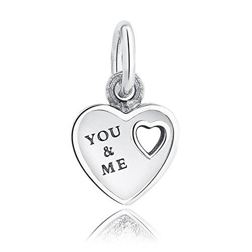 Argento Sterling ellajewels You & Me Cuore Charm per braccialetti Pandora