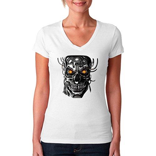Fun Girlie V-Neck Shirt - Roboter Schädel by Im-Shirt Weiß