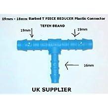 19mm–16mm reductor de Espino T Pieza Conector de plástico Unión de combustible Manguera de aire agua reparación de tubo de aceite