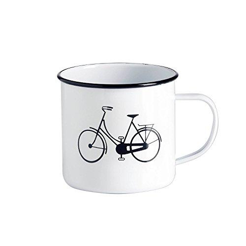 Emaille-Tasse - Kaffeebecher - Tasse Weiß mit schwarzem Design Fahrrad, Sonne oder Retro-Brille -...