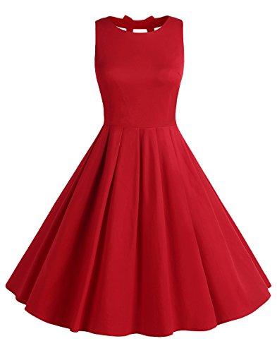 ag 50s Polka Dot Bowknot Rockabilly Kleid Swing Kleid BLV8001 Red XL ()