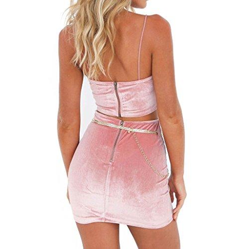 Juleya Donna Tute Spiaggia Crop Top e Mini Gonna Clubwear 2 Pezzi Set S-XL Rosa