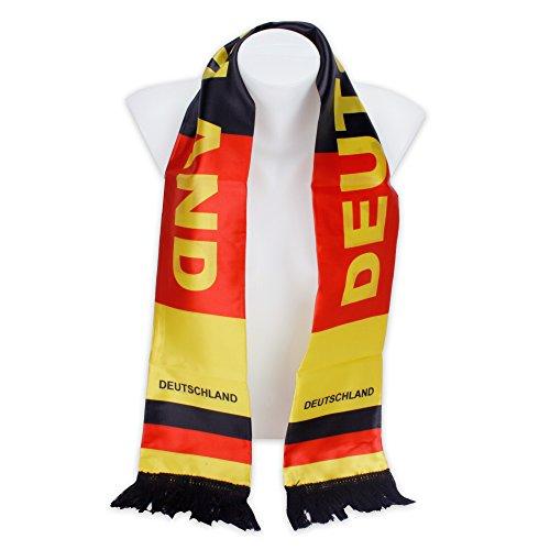 Fanschal Schal Länderschal Deutschlandschal aus Satin in Deutschland-Farben zur Fußball-WM 2018 schwarz - rot - gold -