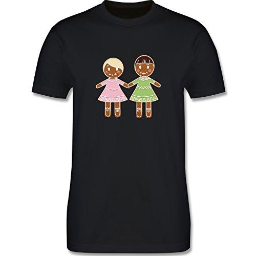 Weihnachten & Silvester - Lebkuchenfrau und -frau - Herren Premium T-Shirt Schwarz
