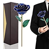 Rosa Regalo Fiore 24K Blu Rosa Eterna Rifinita e Placcata Color Oro Fiore Vero...