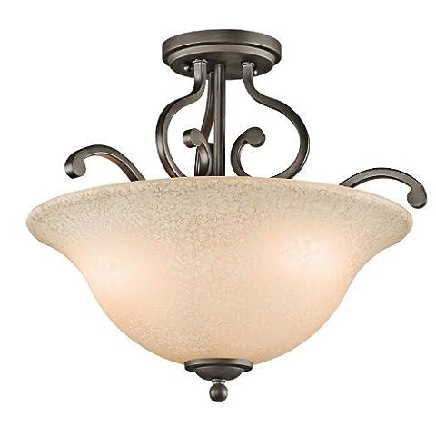 Kichler Lighting 43232OZ Camerena 3-Light Semi-Flush, Old Bronze Finish with White Scavo with Light Umber Inside Tint Glass by Kichler Lighting
