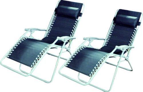 Zero Gravity Lot de 2 fauteuils relax en textilène
