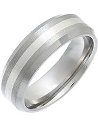 Theia Unisex-Ring Titan und Silber Inlay Flach Court Matt 7mm