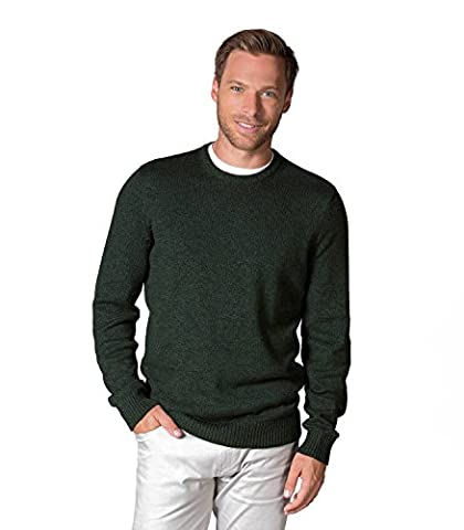 WoolOvers Mens 100% Cotton Twist Crew Neck Knitted Sweater Moss, L