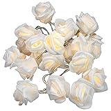 Nipach GmbH Rosenblütenkette mit 20 LED warm weiß Batterie transparentes Kabel Lichterkette mit Blumen Kunstblumen Weihnachtsdeko Valentinstag Deko für Innen