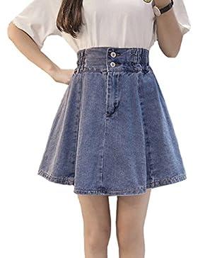 Summer Plus Size Size Reforzado Cowboy Plisado Falda Para Mujer Lady Fashion A-line Falda Girl Denim Swing Acampanado...