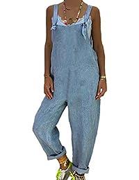 9bbea0bc4f2 Mxssi Salopette Lin Femme sans Manches en Vrac Playsuit Taille Haute Retro  Combinaisons Jumpsuit avec Poches