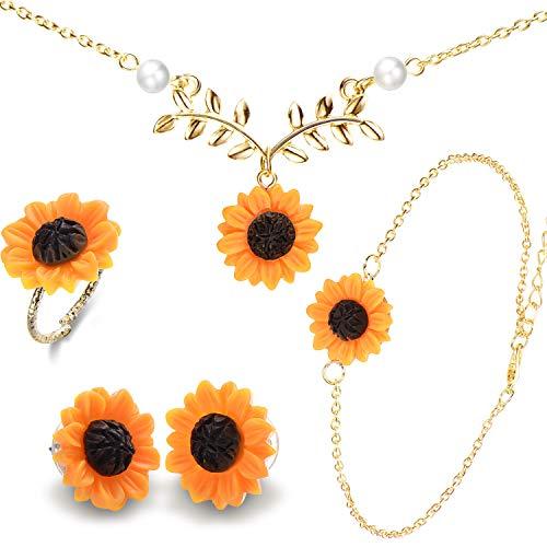 Harz Sonnenblumen Perlen Batt Halskette Sunflower Designed Ohrring Ring und Anhänger Armband für Damen Geschenk