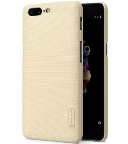 Sanchar's For Nillkin Frosted Shield Matte Plastic Slim Fit Case Cover Shell (with Screen protector film) For Oneplus 5 Cover, One plus 5 Cover, 1+5 Cover - golden