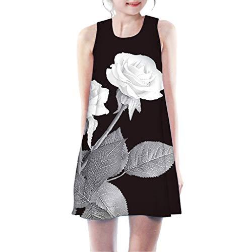 Allegorly Mädchen Prinzessin Kleid Kinder Ärmellos Vintage Kleid Rockabilly Blumendruck Swing Party Kleider A-Linie 3D Druck Sommerkleid T-Shirt Partykleider Rundhals Freizeitkleidung 7-11 Jahre (80 Ist Zehn Jahre Kostüme)