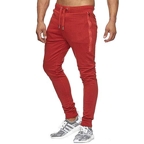 Cebbay Liquidación Pantalones de chándal para Hombres Bolsillo Largo Delgado Pantalones de Entrenamiento Harlan Casual Pants(Rojo, EU Size M = Tag L)