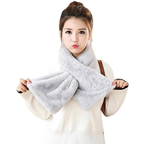 Transer ® Femelle Écharpes,Mode Femmes Filles Épaissir Chaud Hiver Faux Lapin Fourrure Peluche Echarpe Foulards (Gris)