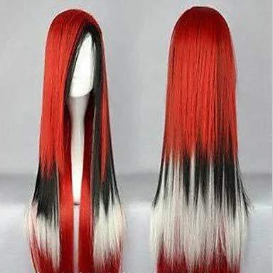 FGDJTYYJ 100 cm lang Harajuku Steigung Cosplay Perücken Junge Lange gerade synthetische Haarperücke Kostüm-Party Perücken für Frauen 4 Farben, red (Brasilianische Kostüm Für Jungen)