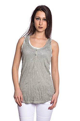 Abbino 8429 Basics Basiques Tops Débardeurs Femmes - Fabriqué en Italie - 8 Couleurs - Transition Printemps Été Automne Plaine Elegant Classique Fashion Cotton Vintage Casual Sexy Party Vert