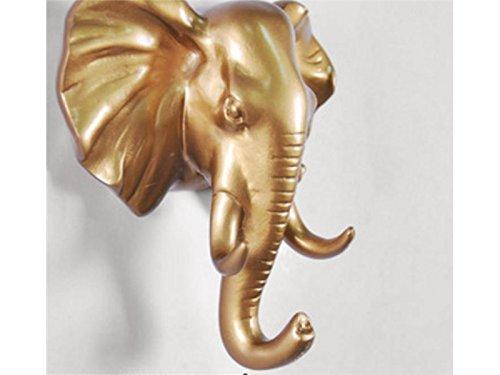 Sunnyshinee - Ganchos pared 3D cabeza elefante dorado
